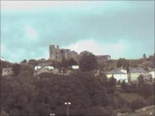 Denbigh Castle webcam - courtesy Denbighshire County Council
