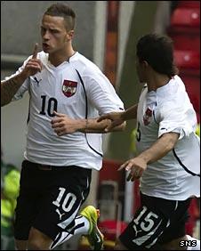 Marko Arnautovic (left) scored for Austria