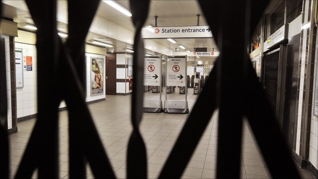 Locked gates at Tower Hill Underground Station in London