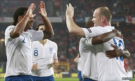 Wayne Rooney celebrates his goal against Switzerland