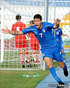 Mattia Mustacchio celebrates the crucial goal for Italy Under-21 against Wales