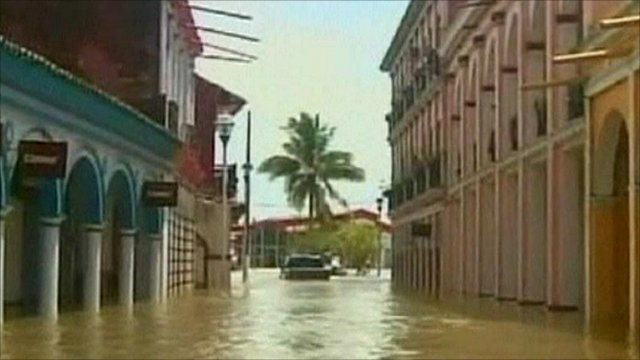 A flooded street in Mexico