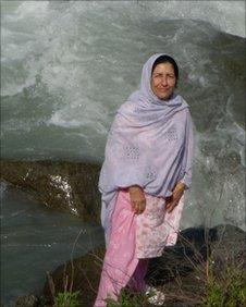 Janet Anwar on bank of River Swat