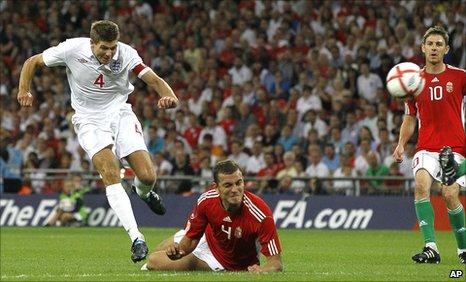 Steven Gerrard scores against Hungary