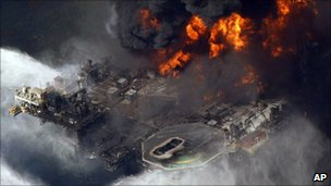 BP&#039;s Deepwater Horizon rig burning