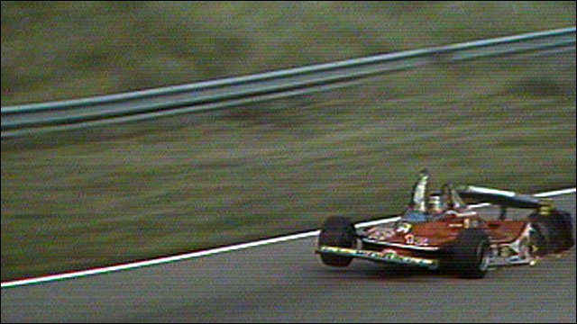 Gilles Villeneuve famously completes a lap on three wheels