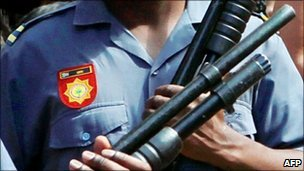 South African policeman holding a gun (file photo)