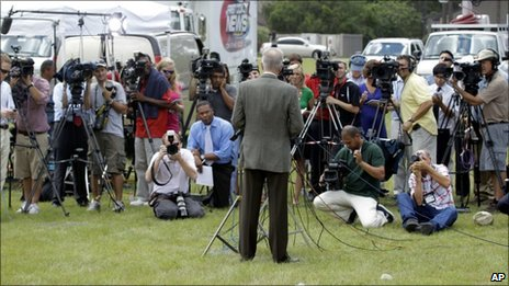 Pastor Terry Jones of the Dove World Outreach Center in Gainesville, Florida, speaks to the press on 8 September, 2010.