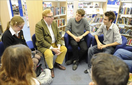 Simon Heffer and students from King Edward VI Comprehensive School