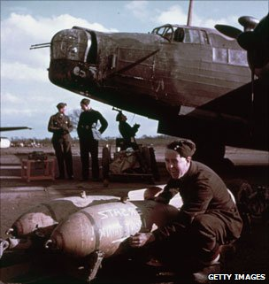 Loading a Wellington bomber circa 1943