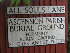 Ascension Parish Burial Site entrance sign