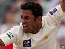 Wahab Riaz celebrates taking a wicket during the Test match at The Oval