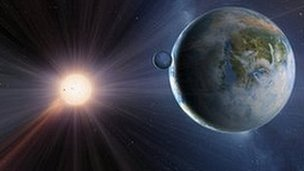 Artist's impression of extrasolar planet, Gliese 581c