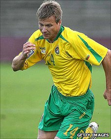 Valdas Trakys in action for Lithuania