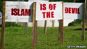 Anti-Islam signs at Florida church
