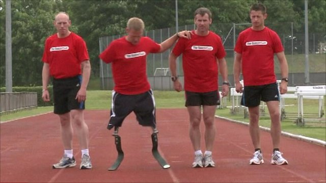 Mark Ormrod and colleagues training for the marathon