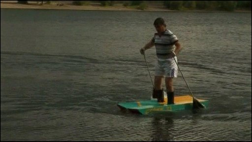 Russian man comes up with floating ski's