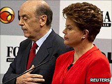 Presidential candidates Jose Serra and Dilma Rousseff