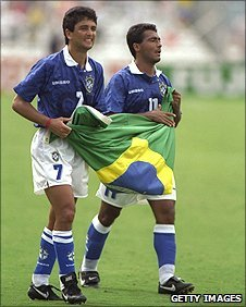 Bebeto and Romario of Brazil during the 1994 World Cup