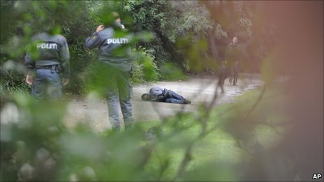 Police surround the suspect, lying handcuffed in the Copenhagen park, 10 September