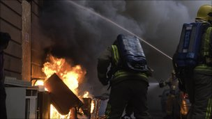 Firefighters tackle a small blaze in Glasgow