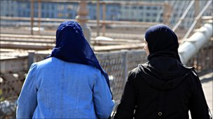 Muslim women in headscarves in Brooklyn