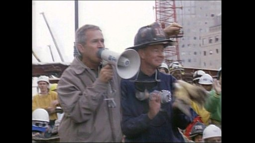 President Bush and New York fire fighter
