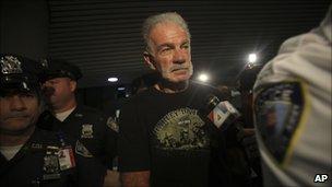 Terry Jones arrives in New York's La Guardia airport, 10 September