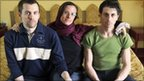 Shane Bauer, left, Sarah Shourd, centre, and Josh Fattal, sit at the Esteghlal Hotel in Tehran (20 May 2010)