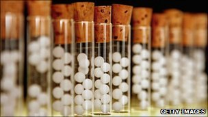 Vials containing pills for homeopathic remedies