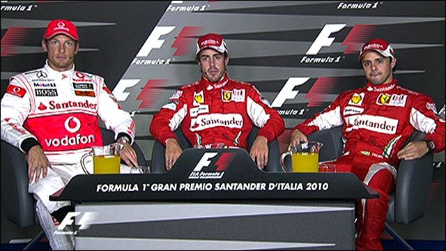 Jenson Button, Fernando Alonso and Felipe Massa