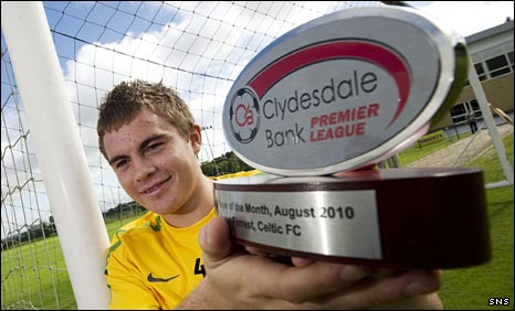 James Forrest with his Clydesdale Bank award