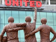 Statue of Bobby Charlton, Denis Law and George Best