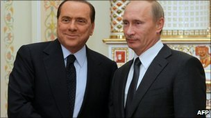 Italian PM Silvio Berlusconi and Russian PM Vladimir Putin in Novo-Ogarevo, Russia (10 Sept 2010)