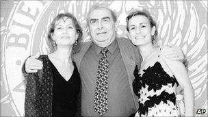 Isabelle Huppert, Claude Chabrol and Sandrine Bonnaire