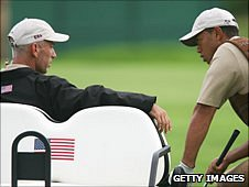 Corey Pavin and Tiger Woods