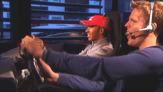 Jake Humphrey battles Lewis Hamilton on the latest F1 video game
