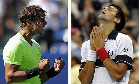 Rafael Nadal (left) and Novak Djokovic