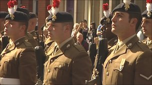 The Second Battalion, The Royal Regiment of Fusiliers, at the Freedom of Entry parade in Nuneaton