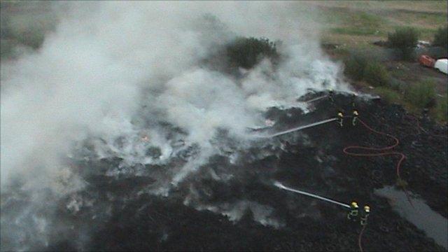Tyre fire in Levenshulme