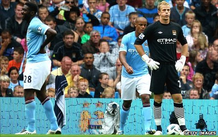 Manchester City goalkeeper Joe Hart after conceding to Blackburn Rovers