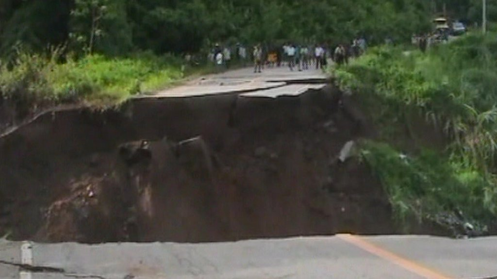 Road collapsing in Thailand