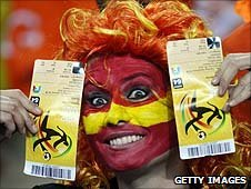Spain fan with tickets before teh World Cup final against Netherlands