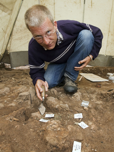 Dr Peter Guest of Cardiff University at the Caerleon dig