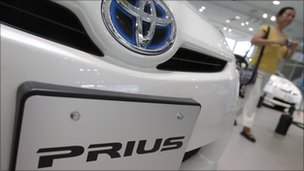 Toyota Prius hybrid vehicle on display