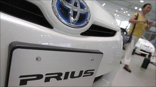 Toyota Prius hybrid vehicle on display