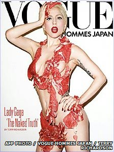 Gaga's beef bikini in Vogue