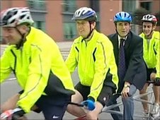 BBC East Midlands Today's Dominic Heale has a go on the hex-cycle