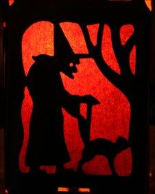 Witch on Halloween lantern