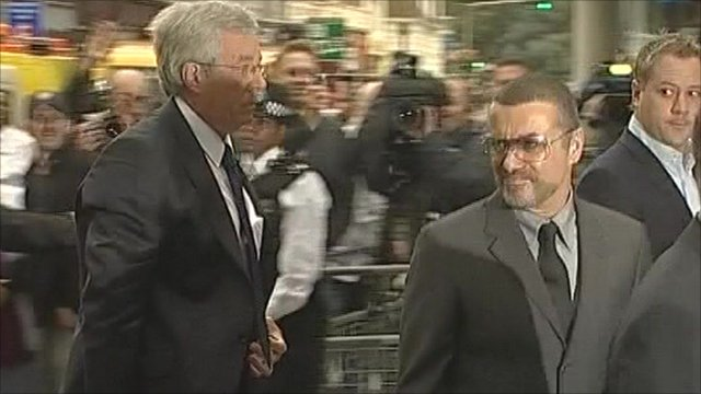George Michael arriving at court
